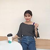 本物のショット - 日本の大学の風ストライプ半袖Tシャツシャツストラップレスのトランペット
