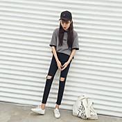 韓国の秋の女性に署名レトロなハイウエスト黒とグレーの膝が緩い野生の学生のジーンズの足をカット