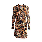 Mujer Recto Vestido Noche Sexy,Leopardo Cuello Alto Hasta la Rodilla Manga Larga Marrón Poliéster Otoño Tiro Medio Microelástico Medio