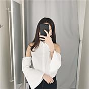 サイン韓国スリムラペルストラップレストランペットスリーブソリッドカラーシャツ女性長袖シャツシャツ