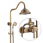 Clásico Campestre Modern Solo ducha Rotativo Válvula Cerámica Sola manija Dos Agujeros Cobre Envejecido , Grifo de ducha