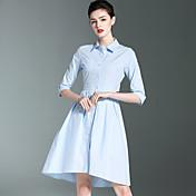 キュート ワーク Aライン ドレス,ソリッド シャツカラー 膝上 コットン 春 夏 ミッドライズ 伸縮性なし ミディアム
