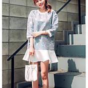 Signo 2016 hitz rayas flounced manga una botella jacquard falda vestido mujeres