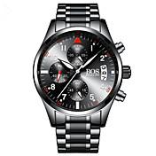 AngelaBOS Hombre Reloj de Moda Reloj de Pulsera Cuarzo Resistente al Agua Cronómetro Noctilucente Acero Inoxidable Banda Cool Negro