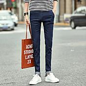 メンズ 韓国語 ミッドライズ ペンシルベイト strenchy スリム パンツ 純色 ファッション