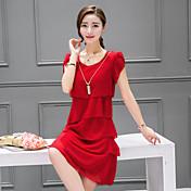 Mujer Corte Ancho Vestido Noche Casual/Diario Sofisticado,Un Color Escote Redondo Sobre la rodilla Manga Corta Verano