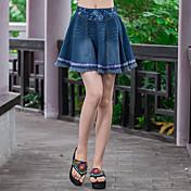 2016夏の新しい女性'文学の国家風のレトロスカート刺繍入りハーフレングスのスカート