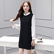 記号2017春新韓国女性偽2色の長袖ドレススカート