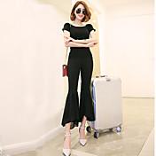 Mujer Clásico Media cintura Rígido Pantalones Pantalones,Color sólido Raso Primavera Verano