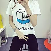 レディース 日常着 学校 デート 夏 Tシャツ,シンプル ラウンドネック アールデコ調 詳細情報なし 半袖 ミディアム