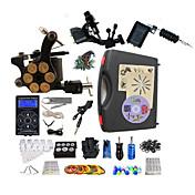 タトゥーマシン プロのタトゥーキット 2 xライニングとシェーディング用ロータリー墨機械 ライニングとシェーディングのための1つのx合金の入れ墨機械 高品質 LED電源 2×アルミニウムグリップ 1 x 合金グリップ 50 クラシック 日常