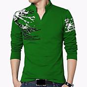 Langærmet V-hals Medium Herrer Trykt mønster Alle årstider Simpel Kineseri Afslappet/Hverdag Ferie Plusstørrelser T-shirt,Bomuld Spandex