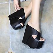 Mujer Zapatos PU Verano Confort Sandalias para Casual Blanco Negro