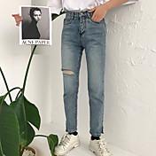 Mujer Casual Tiro Alto Microelástico Corte Ancho Vaqueros Pantalones,Un Color Primavera