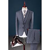 ブルー チェック テイラーフィット 58パーセントWool42%ビスコース スーツ - ノッチドラペル シングルブレスト 二つボタン