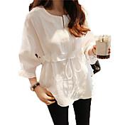 袖コットンシャツラウンドネックのレースのシャツの女性のシャツの春の韓国語バージョンは、ブラウスをフラウンス付き