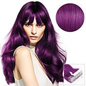 ヘアエクステンションの20本のテープ紫色のラブリーなラベンダーのベリーブラット40グラム女性のための16インチ20インチの100%の人間の髪