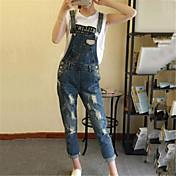 婦人向け ストリートファッション コットン ジャンプスーツ,伸縮性なし 薄手 ノースリーブ