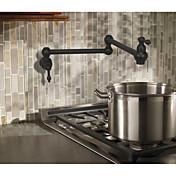 アンティーク アールデコ調/レトロ風 伝統風 ポットフィラー センターセット 組み合わせ式 回転可 セラミックバルブ 二つのハンドルつの穴 アンティーク銅 , 水栓