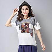 レディース カジュアル/普段着 Tシャツ,シンプル ラウンドネック カラーブロック リネン 半袖