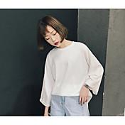 レディース カジュアル/普段着 Tシャツ,シンプル ラウンドネック ソリッド その他 七部袖
