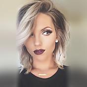 Mujer Pelo humano pelucas sin tapa Gris Ondulado Natural Corte Bob Corte a capas Con flequillo Pelo Ombre Raíces oscuras Parte lateral