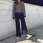 2017 modelos de primavera firman nueve nuevos altura de la cintura ancho jeans de pierna franja hembra delgada