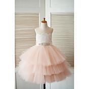 姫のお茶の長さ花の女の子のドレス - thstyleeでビーズとレースチュールノースリーブの宝石の首