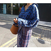 レディース お出かけ カジュアル/普段着 春 秋 シャツ,キュート ストリートファッション Vネック チェック レーヨン 長袖 ミディアム