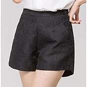 Mujer Sencillo Tiro Alto Microelástico Chinos Pantalones,Perneras anchas Un Color