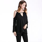 レディース お出かけ Tシャツ,ストリートファッション Vネック ソリッド コットン 長袖