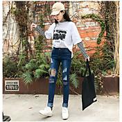 レディース シンプル ストリートファッション ハイライズ タイト ジーンズ パンツ ゼブラプリント