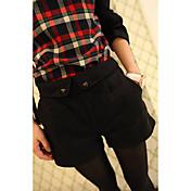 Mujer Casual Tiro Medio Rígido Perneras anchas Chinos Shorts Pantalones,Un Color Otoño