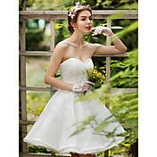 Princesa Escote Corazón Hasta la Rodilla Encaje Vestido de novia con Cristal Cuentas Apliques Flor por LAN TING BRIDE®