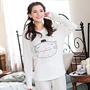 女性の睡眠を着る白い漫画の猫のパターンソフトパジャマセット