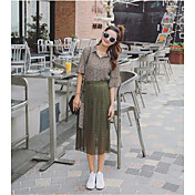 レディース カジュアル/普段着 お出かけ 夏 シャツ ドレス スーツ,ストリートファッション シンプル チェック 五分袖 非弾性