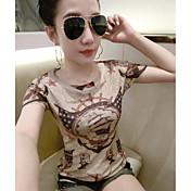 Mujer Chic de Calle Playa Camiseta,Escote Redondo Estampado Manga Corta Algodón