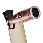 Zoom óptico de aluminio universal 18x con mini trípode smartphone telescopio de metal lente de enfoque largo -pink