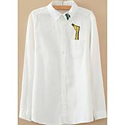 レディース お出かけ シャツ,シンプル シャツカラー ソリッド コットン その他 長袖