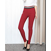Mujer Casual Tiro Medio Alta elasticidad Ajustado Pantalones,Un Color Verano