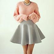 Mujer Sencillo Casual/Diario Verano T-Shirt Falda Trajes,Escote Redondo Un Color Manga Larga Microelástico