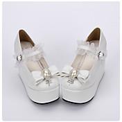 Zapatos Amaloli Lolita Clásica y Tradicional Lolita Princesa Plataforma Un Color Lunares Lolita 10 CM Blanco ParaCuero Sintético/Cuero de
