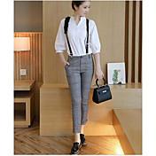 Mujer Moderno/Contemporáneo Diario Otoño T-Shirt Pantalón Trajes,Escote Chino Un Color 3/4 Mangas Microelástico
