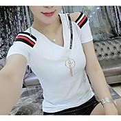 Mujer Simple Uso Diario Cita Verano Camiseta,Escote en Pico Un Color A Rayas Manga Corta Algodón Fino
