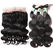 Trama del pelo con cierre Cabello Malayo Ondulado Grande 4 Piezas los tejidos de pelo