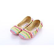 Mujer Zapatos de taco bajo y Slip-Ons Confort Suelas con luz Tejido Primavera Otoño Oficina y Trabajo Vestido Informal Tacón PlanoMarrón