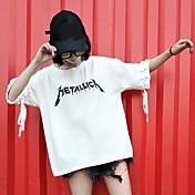 レディース カジュアル/普段着 春 夏 Tシャツ,シンプル ラウンドネック パッチワーク レタード コットン 半袖 薄手
