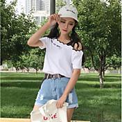 レディース カジュアル/普段着 Tシャツ,キュート ボートネック ソリッド レタード コットン 半袖