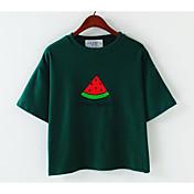 レディース カジュアル/普段着 Tシャツ,シンプル ラウンドネック ソリッド 幾何学模様 コットン 半袖