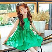 Vestido Chica de Un Color Algodón Sin Mangas Verano Volantes Verde Trébol